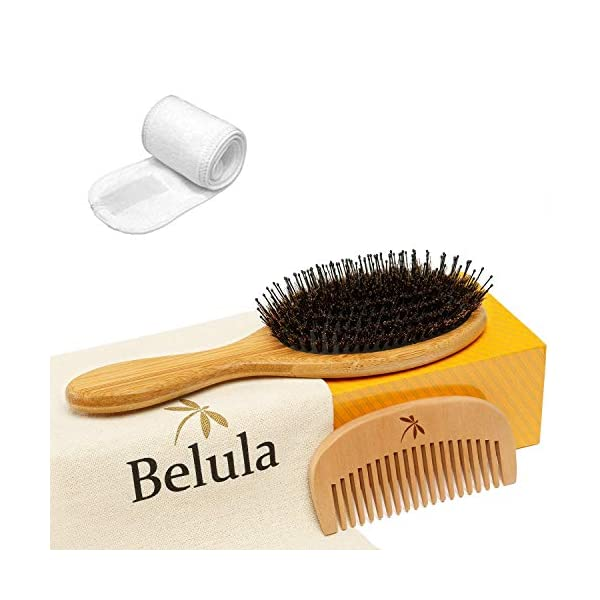 Beauty Shopping Premium Boar Bristle Hair Brush for Thick Hair Set. Hairbrush for Women With Thick,