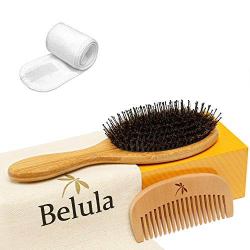 Detangling Boar Bristle Hair Brush Set. Curly Hair Brush. Hairbrush for Any Hair Type, Restores Shine and Texture. Wooden Comb, Travel Bag and Spa Headband Included