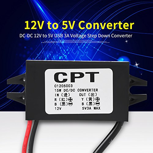 DC-DC 12V to 5V 3A Micro USB Converter Voltage Step Down Regulator Waterproof Power Converters for Car Smartphone
