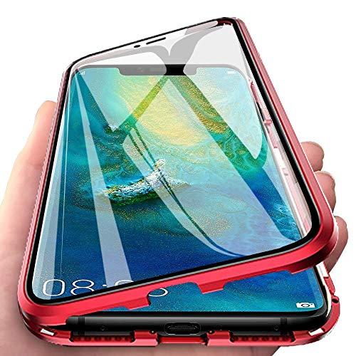 Kompatibel für Huawei P30 Lite (6,15 Zoll)Hülle,Stark Magnetische Adsorption Metallrahmen Flip Handyhülle 360 Grad Komplett Schutzhülle Vorne und Hinten Gehärtetes Glas Transparente Cover,Rot