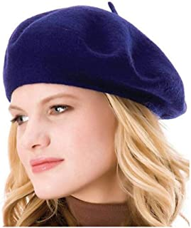 HengwoYS Womens Solid Color Beret 100% Wool French Beanie Cap Hat