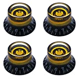 mxuteuk 4pcs Custom Bell Knobs Black w/Gold Custom Electric Guitar Bass Top Hat Knobs Speed Volume Tone AMP Effect Pedal Control Knobs KNOB-S24