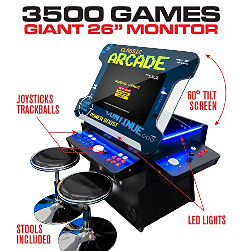 Creative Arcades Full-Size Commercial Grade Cocktail Arcade Machine | Trackball | 3500 Classic Games | 4 Sanwa Joysticks | 2 Stools Included | 26' Lifting Screen | 3-Year Warranty | Square Glass Top