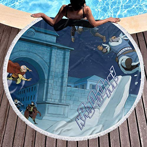 Wyxllmg1170109 Beach Towelava.Tar The Last Air-Ben.Der Zu-Ko Super Soft Popular Round Beach Towel Fashion Cotton Mat Soft Absorbent and Dry Fast for Swimming Pool Beach