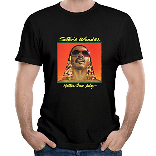 Twenty-nine COME Men's Stevie Come and Wonder - Hotter Than July T Shirt Black XX-Large