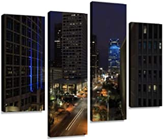 Night view of Phoenix city center Canvas Print Artwork Wall Art Pictures Framed Digital Print Abstract Painting Room Home ...