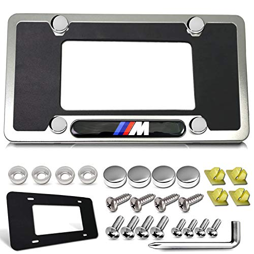 License Plate Frame for BMW- M Logo Tag Frame, Silver Matte Aluminum Car Plate Cover Holder 4 Holes with Custom Accessories- Stainless Steel Screws, Chrome Caps