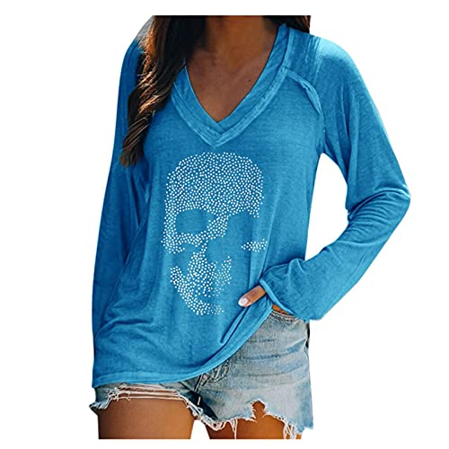 Zldhxyf Camiseta de manga larga para mujer, azul, M