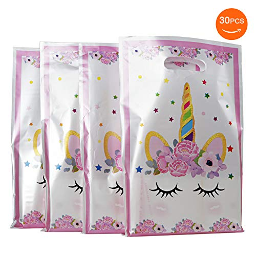 SoFire 30 Pack Plastic Unicorn Party Bags Gift Bags for Unicorn Birthday Party Supplies