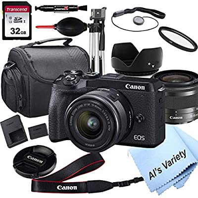 Canon EOS M6 Mark II Mirrorless Digital Camera with 15-45mm Lens + 32GB Card, Tripod, Case, and More (18pc Bundle) from Al's Variety-Canon intl