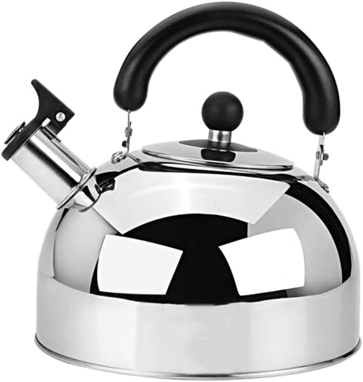 Color : Silver, Size : About 4L Whistle Tea Kettle for Stove Top-Large Capacity Stainless Steel Teapot with Heat-Resistant Handle and Stainless Steel Polished Teapot