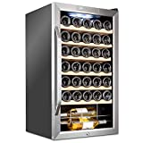 Ivation 34 Bottle Compressor Wine Cooler Refrigerator w/Lock | Large Freestanding Wine Cellar For Red, White, Champagne or Sparkling Wine | 41f-64f Digital Temperature Control Fridge Stainless Steel