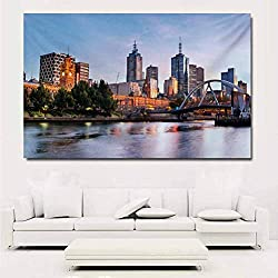 City Poster Print Early Morning Scenery in Melbourne Australia Famous Yarra River Scenic Wall Decals for Kids 32x24 Inch