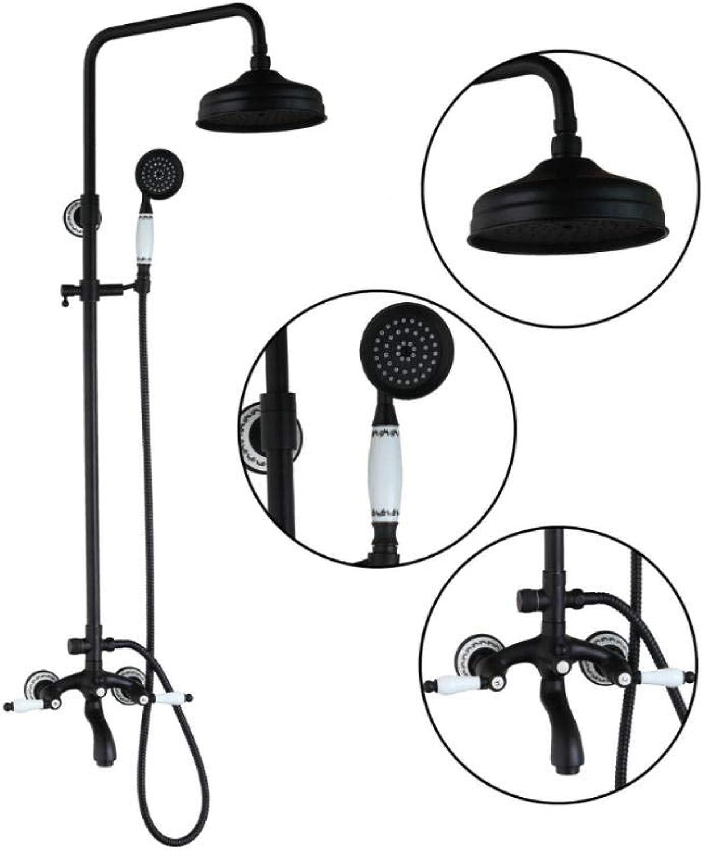 Wasserhahn Runde Badezimmer l eingerieben Bronze Swivel 8 Regenduschkopf + Handbrause Wasserhahn Set Badewanne Mischbatterie