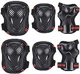 Maxjaa Conjunto de protección de Engranajes para los jóvenes para niños Rodilleras Coderas muñequeras con Correas Ajustables para Bicicleta BMX Skateboarding Patinaje Vespa