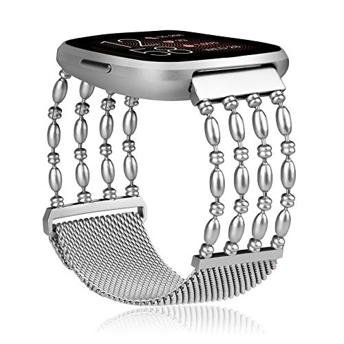 Koreda Compatible with Fitbit Versa/Versa 2 Bands, Stainless Steel Chain Bangle Mesh Loop Replacement Bracelet Strap for Fitbit Versa/Lite/Versa 2/Special Edition Smartwatch (Silver)