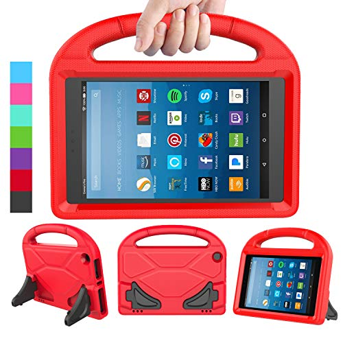 LEDNICEKER Kids Case for Fire HD 8 2018/2017 - Shockproof Handle Friendly Convertible Stand Kids Case for Fire HD 8 inch Tablet (7th & 8th Generation Tablet, 2017 & 2018 Release) - Red