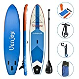 Uenjoy 10' Inflatable Stand Up Paddle Board (6 Inches Thick) Non-Slip Deck Adjustable Paddle, Backpack, Two-Way Pump, Safety Leash, Repairing kit, Blue