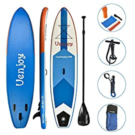 "Uenjoy inflatable sup 11'30""x6"" all around paddle board, w/full accessories, perfect for yoga fishing touring 13 🏄extra wide: this inflatable sup board is 30"" width perfect for beginners(newbie) keeping stability and balance. It is also a suitable size when from beginner to advance. So it is a board that last long. Length10'/ 11' user weight: 242 lbs/286 lbs. 🏄3 years warranty: featured thickened military grade pvc on the top and bottom: creates a stiff, rigid and sturdy board. Also decrease the water resistance. Durable enough to last for years. 🏄stable & anti-slip top deck: soft, luxurious eva deck pad for enhance grip. Recessed handle for easy carrying into the water's edge. Perfect for beginners and suitable for people in all levels."