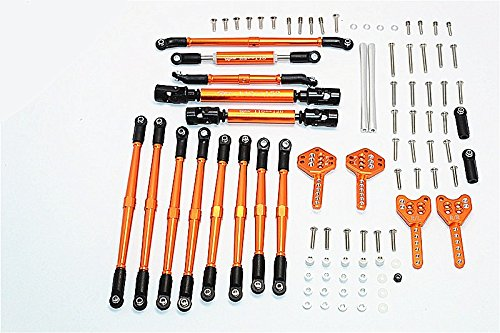 GPM Axial SCX10 II Upgrade Pièces (AX90046) Aluminium Chassis Lift Up Combo (Tie Rods & Center Shaft & Damper Mount) - 1 Set Orange
