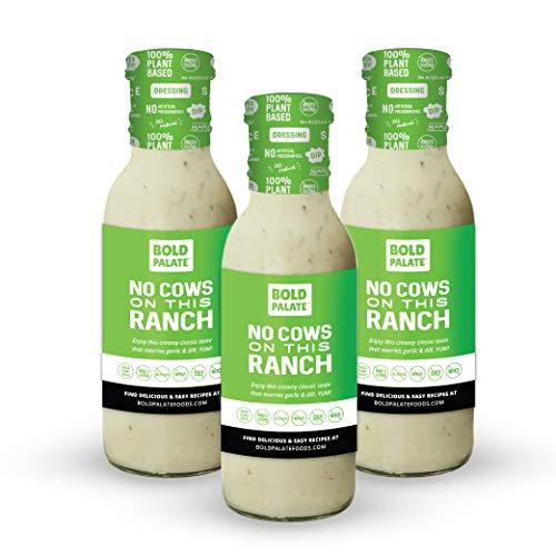 Bold Palate No Cows On This Ranch Salad Dressing, Sauce, Dip, Marinade, Vegan, 100% Plant Based, No Added Sugar, No Soy, 8 oz., 3 Pack