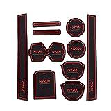 0beilita Alfombrilla Goma Antideslizante Coche para Nissan NV200 2010-2016 Alfombra Goma Posavasos Accesorios Interior para Consola Central, Rojo