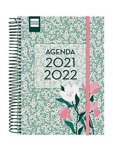 Finocam Agenda 2021 2022 1 Día página Septiembre 2021, Junio 2022 10 meses y Julio/Agosto resumidos 4º, 155x212 Secundaria Floral Español