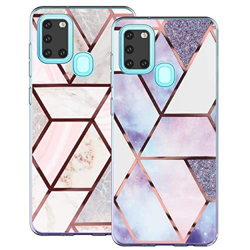 kinnter 2 Pack Hülle Kompatibel mit Samsung Galaxy A21s Silikon Hülle Blume Marmor Handyhülle 360 Grad Schutzhülle Ultra Soft Rückschale TPU Bumper Case Cover für Samsung A21s