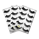 HiPretty 3D 15 Pairs Faux Mink Lashes, Handmade Reusable Dramatic False Eyelashes, Fluffy, Dramatic Thick, Strip Lashes Pack…