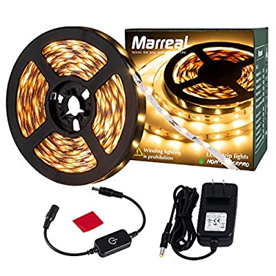 Led Strip Rope Lights Warm White Touch Dimmable 3000K Marreal 16.4ft/5m 300 LEDs 2835 with UL Power Adapter Non Waterproof LED Lights for Bedroom,Indoor Decoration
