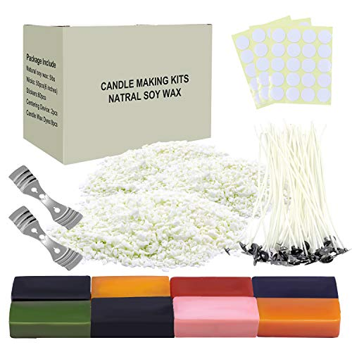 DIY Candle Making kit Arts Candle Craft Tools Including 5 LB Natural Soy Wax FlakesCandle WicksCentering DeviceStickers and 8 Color Dyes