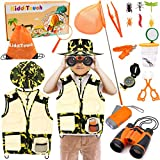 KiddiTouch Kids Explorer Kit 18pcs, Kids Outdoor Exploration Kit with Camouflage Vest &Hat, Bug Catching Kit  Flashlight Compass Magnifying Glass Butterfly Net Great Toys Kids Gift for Camping Hiking