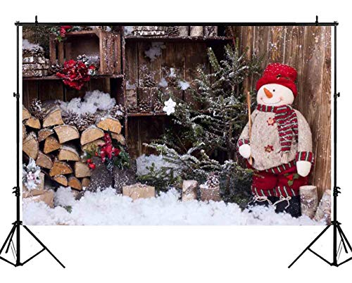 Funnytree 7x5ft Vintage Wooden House Snowman Backdrop Christmas Rustic Wood Snow Pine Tree Background Children Newborn Baby Interior Photography Portrait Photo Studio Photobooth Props
