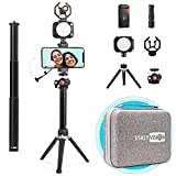 USKEYVISION Smartphone Video Vlogging Kit/Video Microphone Light Kit/YouTube Stater/Tiktok Equipment, with Metal Extensible Stick, for iPhone, Smartphones and Cameras (V-Max)