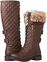 GLOBALWIN Women's 19YY05 Brown Knee High Combat Boots 9M