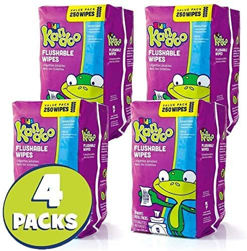 Flushable Wipes for Baby and Kids by Kandoo, Unscented for Sensitive Skin, Hypoallergenic Potty Training Wet Cleansing Cloths, 250 Count, Pack of 4