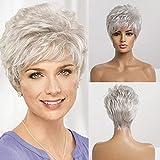 Emmor pelucas cortas de cabello humano gris plateado para mujer, peluca de corte pixie con flequillo, cabello natural de uso diario (color 101 #)