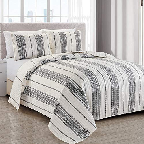 Modern Bedspread Twin Size Quilt with 1 Sham. Modern 2-Piece Reversible All Season Quilt Set. Grey and White Quilt Coverlet Bed Set. Wesley Collection.