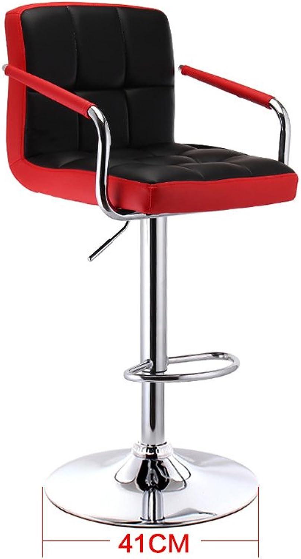 Mesurn European Pu Cushion Two-color Can Lift redate Bar Creative High Chair European Retro Bar Stool Star Flag color (color   A)