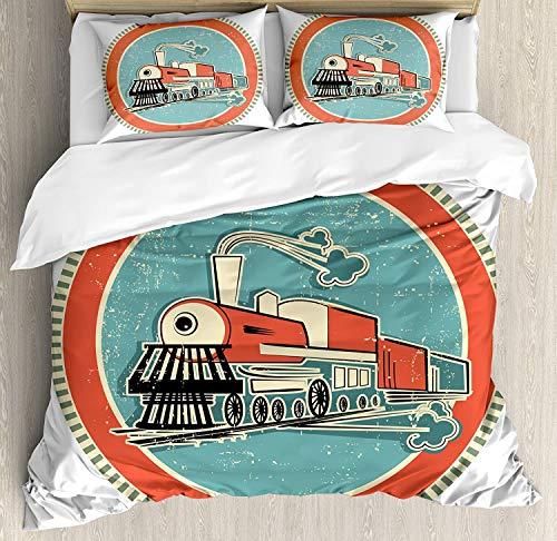 Juego de ropa de cama con diseño de motor de vapor, estilo vintage, color naranja y azul, diseño retro de tren, 3 piezas, con 2 fundas de almohada, tamaño king, color turquesa salmón