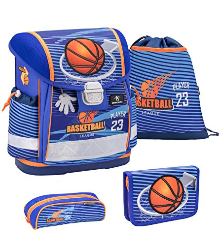 Belmil 403-13 - Juego de mochila y accesorios escolares (4 piezas), diseño de baloncesto