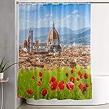 VINISATH Cortinas de Ducha,Florencia, Duomo y Campanile de Giotto,Cortina de baño Decorativa para baño,bañera 180 x 180 cm