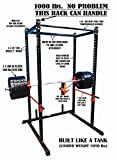"TDS Mega 1000 lb Rated Black Power Squat Rack, 1.25"" Dia Professionally knurled Front Chinning Bar, Provision to add LAT Attachment, Pull up/Chip up bar and More!"