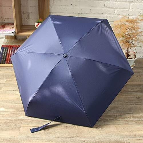 NJSDDB Regenschirm Neue Mini Kapsel Frauen Regenschirm Einfarbig Außen Sonnenschirm AluminiumSchirmständerFünf Falten Wasserdicht Regen PonchoMarineblau