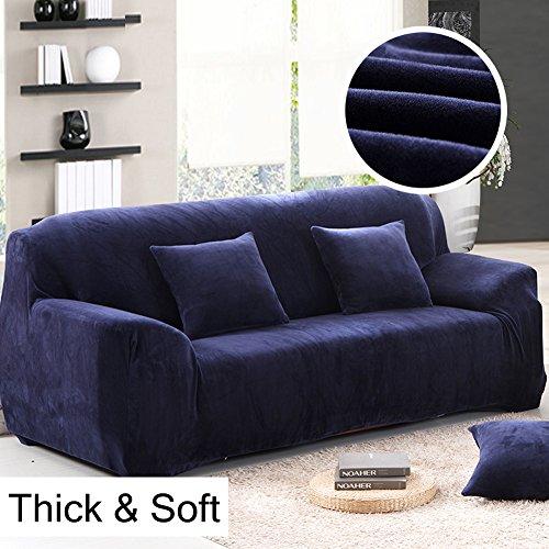 Copridivano in spesso velluto elastico, fodera protettiva da divano, aderente e facile da mettere, in tessuto elasticizzato, Blue, 3 Seater:195-230cm