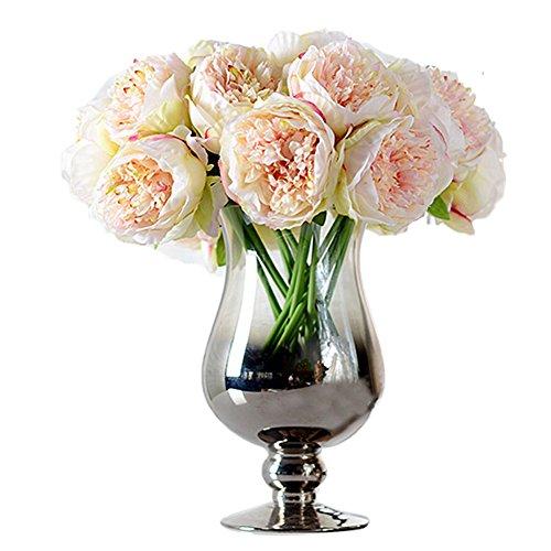 ZUMUii - Ramo con 5 flores artificiales, peonias, champán