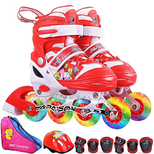 Great Deal! SSLLPPAA Skates Children Men and Women Inline Skating Red Eight-Wheel Full Flash (Includ...