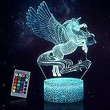JQGO Luz Nocturna Infantil, Luces nocturnas Ilusión 3D Unicornio para niños con mando a...