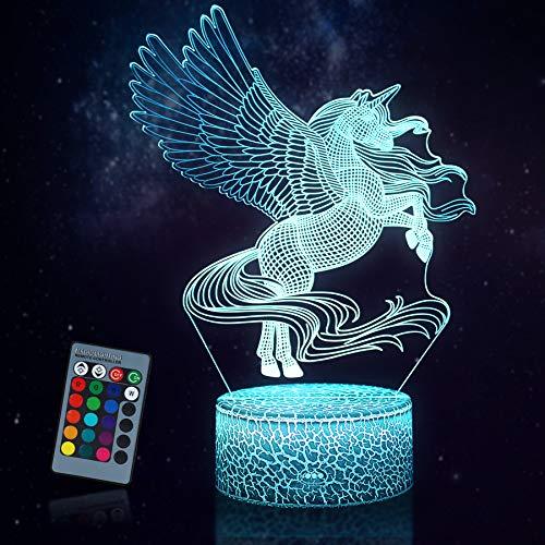 JQGO Luz Nocturna Infantil, Luces nocturnas Ilusión 3D Unicornio para niños con mando a distancia y 16 colores cambiantes y función regulable, regalo de cumpleaños para jóvenes, niñas, hombres