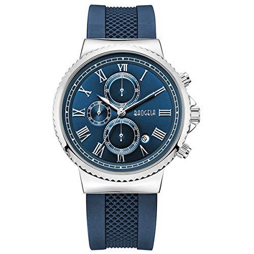 Herren Uhren Militär Marine Blau Silikonarmband mit Silber Edelstahlgehäuse Große Römisches Zifferblatt Chronograph und Wasserdicht